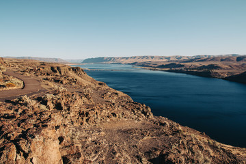 Columbia River far below rocky cliffs.