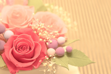 A Gift of Preservrd Flower and Clay Flower Arrangement, Pink and Red Roses