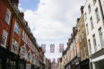 Union jacks on a central London shopping street