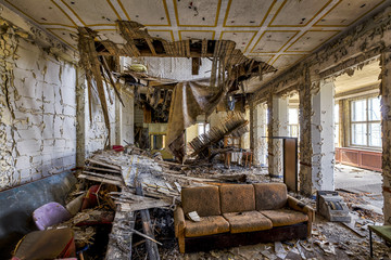 abandoned decay living room with couch