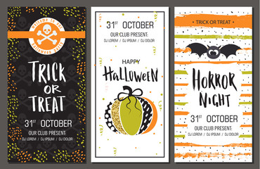 Halloween party invitations. Vertical banners set. Vector illustration. Design for holiday poster.
