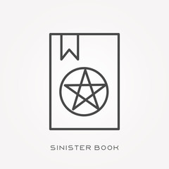 Line icon sinister book