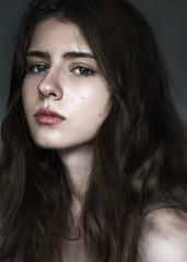 portrait of a beautiful brunette close-up