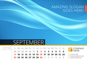 Desk line calendar for 2018 Year. September. Vector design print template with abstract background. Week starts on Sunday