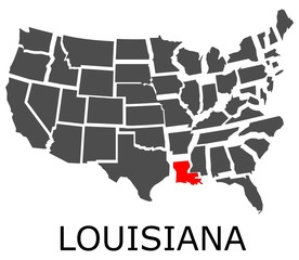 Bordering map of USA with State of Louisiana marked with red color.