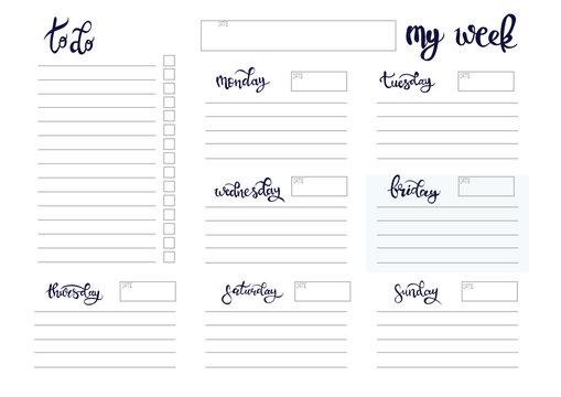 weekly planner blank template