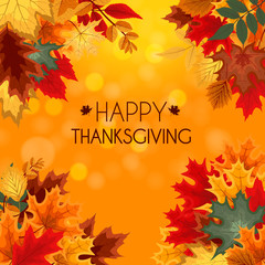 Abstract Vector Illustration Autumn Happy Thanksgiving Backgroun