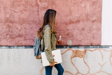 Schoolgirl walking outdoor