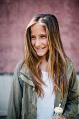 Portrait of a young schoolgirl outdoor