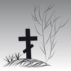 Background on Halloween cross grave tree