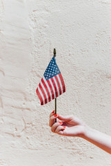 Woman hand holding a small american flag