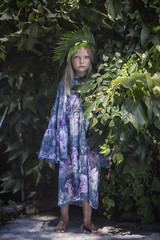 blue-eyed girl in the bushes, nature, art, portrait, beauty