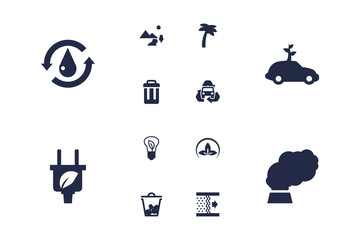 Set Of 12 Bio Icons Set.Collection Of Treatment, Saving, Container And Other Elements.