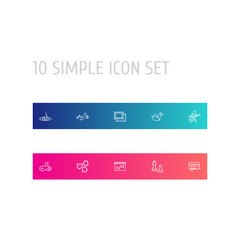 Set Of 10 Hobbie Outline Icons Set.Collection Of Chess, Aeromodeling, Fishing And Other Elements.