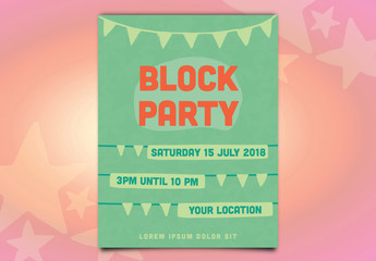 Block Party Poster Layout with Green and Orange Accents
