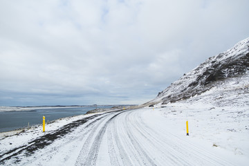 Snow covered road in Iceland