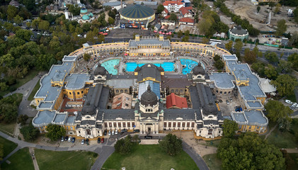 Szechenyi Baths in Budapest. aerial view of The biggest bath complex in Europe. Budapest, Hungary. 15.09.2017