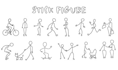 Set stick figure people. Simple men and women black pictogram
