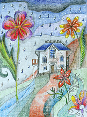 Fairyland. Cozy little house under big flowers in rainy day. Fantasy illustration by colored pencils.