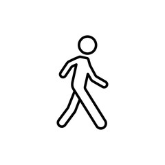 thin line pedestrian sign on white background