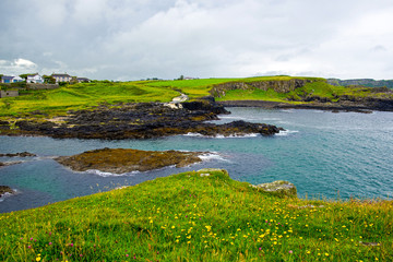 Panorama of Dunseverick Falls. Relaxing view Landscape of Northern Ireland.