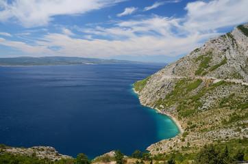 Croatina coast near Makarska with Brac island on the background