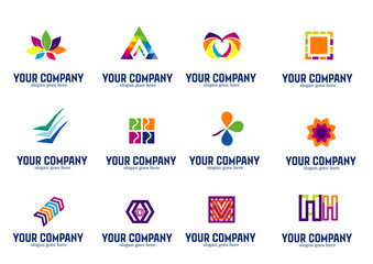 Set of abstract rainbow symbols and colorful logo design