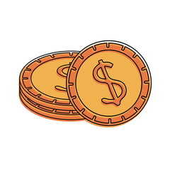 dollar coins cash money icon image vector illustration design
