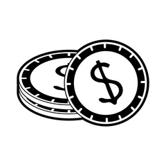 dollar coins cash money icon image vector illustration design  black and white