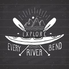 Kayak and canoe vintage label, Hand drawn sketch, grunge textured retro badge, typography design t-shirt print, vector illustration on chalkboard background