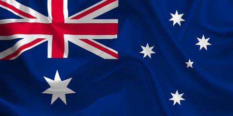 Waving flag of the Australia. Australian Flag in the Wind. Australian National mark. Waving Australia Flag. Australia Flag Flowing.