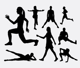 People fitness aerobic and sport silhouette. Good use for symbol, logo, web icon, mascot, or any design you want.