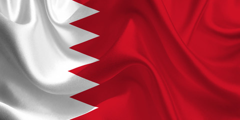 Waving flag of the Bahrain. Flag in the Wind. National mark. Waving Bahrain Flag. Bahrain Flag Flowing.