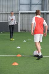children training soccer futsal indoor gym