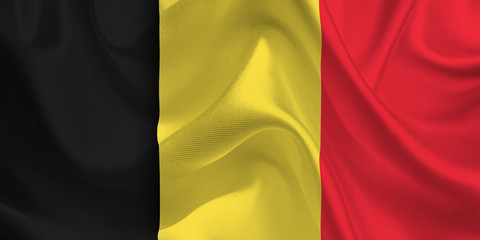 Waving flag of the Belgium. Belgian Flag in the Wind. Belgian National mark. Waving Belgium Flag. Belgium Flag Flowing.