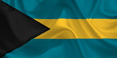 Waving flag of the Bahamas. Flag in the Wind. National mark. Waving Bahamas Flag. Bahamas Flag Flowing.