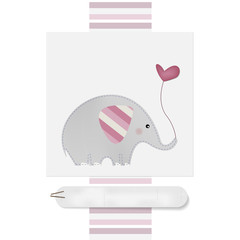 Cute Elephant - Baby shower - Birthday  - Place your text