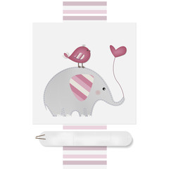 Cute Elephant and Bird - Baby shower - Birthday  - Place your text