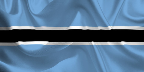 Waving flag of the Botswana. Flag in the Wind. National mark. Waving Botswana Flag. Botswana Flag Flowing.
