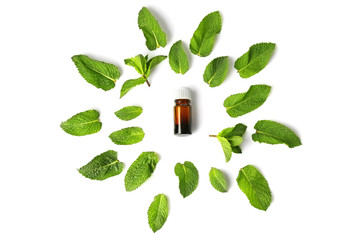 Bottle of essential oil and mint leaves on white background