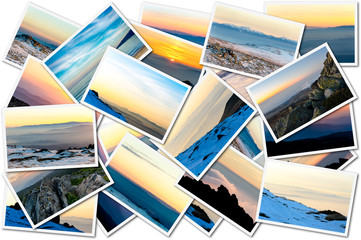 Collage of sunset photos