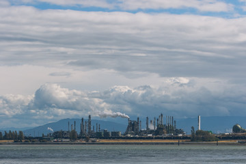 industrial factory at sea port, washington, usa