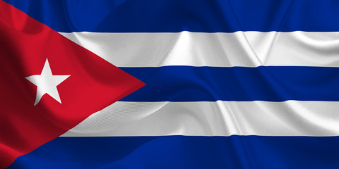 Waving flag of the Cuba. Cuban Flag in the Wind. Cuban National mark. Waving Cuba Flag. Cuba Flag Flowing.