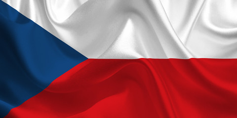 Waving flag of the Czech Republic. Flag in the Wind. National mark. Waving Czech Republic Flag. Czech Republic Flag Flowing.