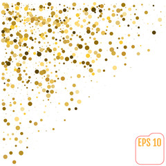 Golden Circle Confetti Falling On White Background. Round. Dot. Polka. Vector