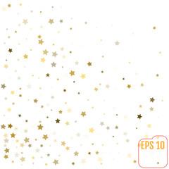Star pattern. white, background, gold, gift wrap. Vector illustration
