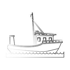 fishing boat icon image vector illustration design  fine sketch line