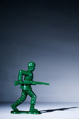 A toy soldier on a white background