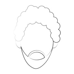 bearded man avatar icon image vector illustration design  fine sketch line