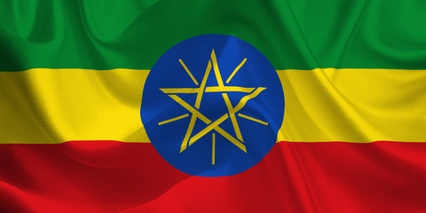 Waving flag of the Ethiopia. Ethiopian Flag in the Wind. Ethiopian National mark. Waving Ethiopia Flag. Ethiopia Flag Flowing.